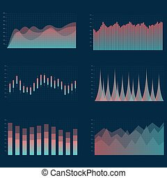 Business chart collection. Set of graphs.