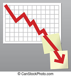 Business chart down - Business chart with line exceeding...