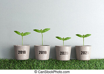 Business chart growth, annual comparison concept