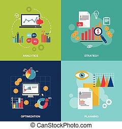 Business chart icons flat set