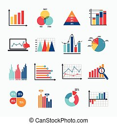 Business Chart Icons Set Flat