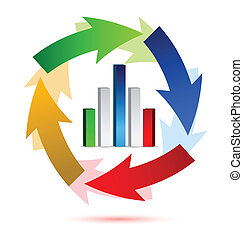 Business chart in arrow cycle illustration design