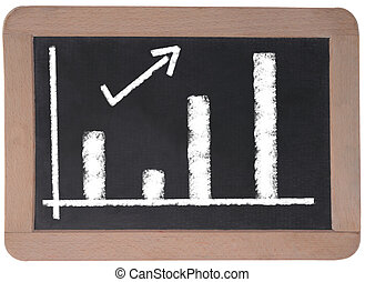 Business Chart on a blackboard - Business Chart on a table