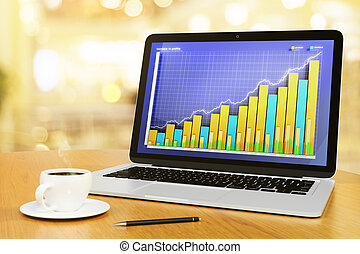 Business chart on a screen with cup of coffee and pen