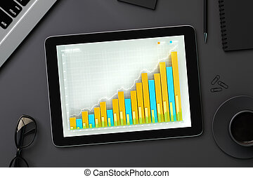 Business chart on digital tablet screen with eyeglasses, cup of coffee and office accessories