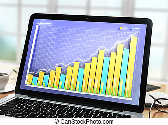 Business chart on laptop screen with cup of coffee and eyeglasses