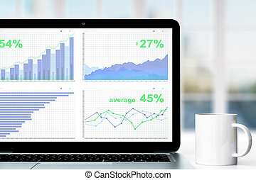 Business chart on laptop screen with cup of coffee on the table