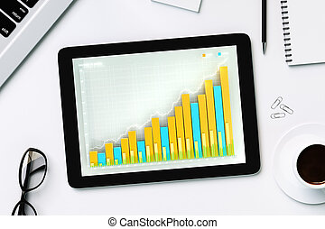 Business chart on the digital tablet screen with cup of coffee and glasses