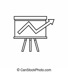 Business chart presentation icon, outline style