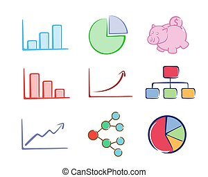 A collection of business charts in vector illustration