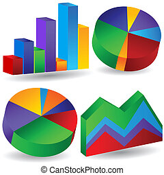 business chart set - set of colorful business charts.