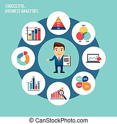 Successful business analytics concept with businessman and charts graphs and diagrams vector illustration