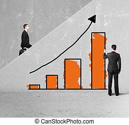business chart - man drawing business chart on ladder