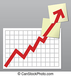 Business chart up - Business chart with line exceeding top...