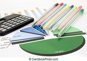 Business chart with calculator and pens