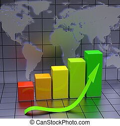 Business Chart With Green Arrow and World Map