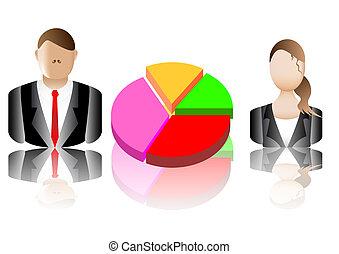 business charts and avatars