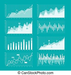 Business charts and graphs infographic elements