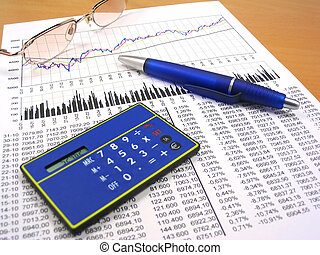 Business charts and office objects - Business charts,...