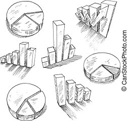 Business charts anf graphs with 3D sketch icons