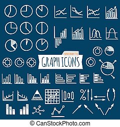 Business charts. Hand Draw style. Set of thin line graph icons. Outline