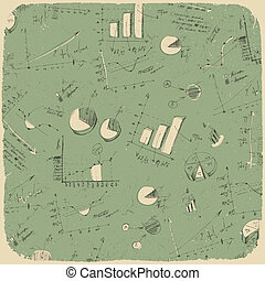 Business charts. Retro styled background, vector...