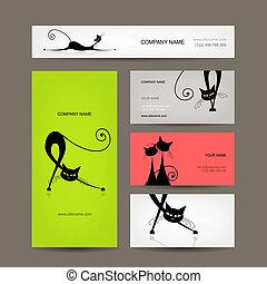 business, chats, conception, cartes, noir, ton