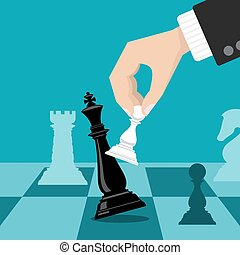 Business checkmate strategy vector concept with hand holding...