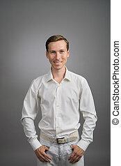business, chemise, gris, arrière-plan., portrait, blanc,...