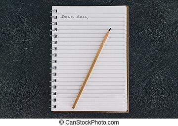 business, cher, cahier, communication, dans, patron, équipe, message