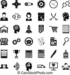 Business choice icons set, simple style
