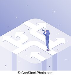 Business choices. Woman career decision, choosing different ways and crossroads of opportunity isometric vector concept illustration