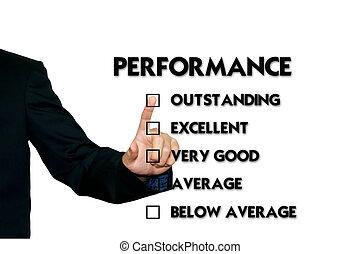 business, choix, formulaire, évaluation performances, homme