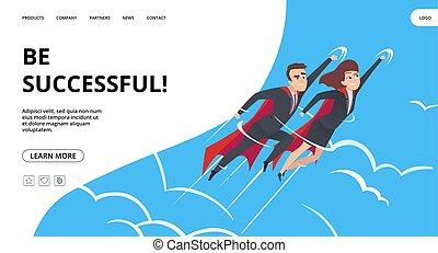 business., cielo, riuscito, lavoro squadra, pagina, affari, maschio, femmina, superheroes, concetto, vettore, fondo., eroi, web, atterraggio, volare