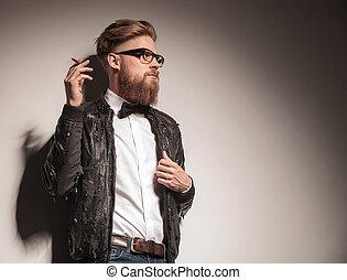business, cigarette., jeune, hipster, fumer, homme