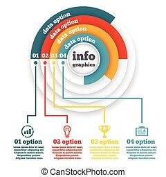 Business circle infographic, chart, diagram, presentation four steps