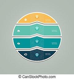 Business circle infographic, diagram, presentation 4 steps