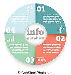 Business circle infographic, diagram, presentation four steps