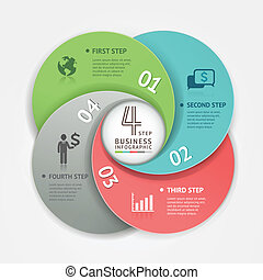 Business circle infographic origami
