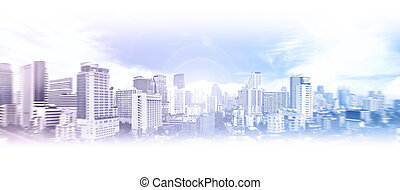 Business city background - Abstract view of the Bangkok...