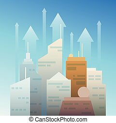 Business city growing up vector concept in flat style