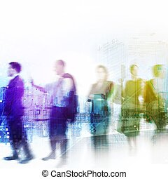 Busy business people with background of city