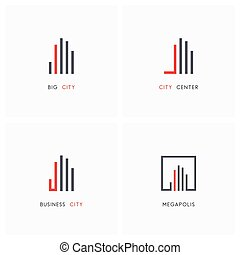 Business city - real estate logo set