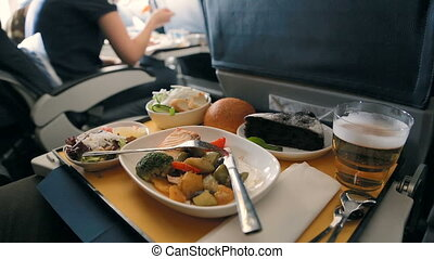 Business Class Airplane Meal. Tasty meal served on board of ...
