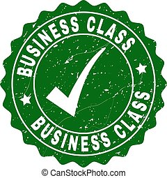 Business Class Scratched Stamp with Tick