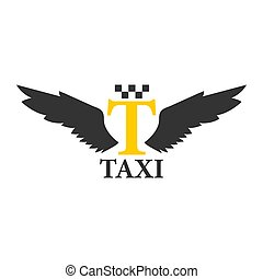 Business class taxi logotype with abstract angel wings isolated