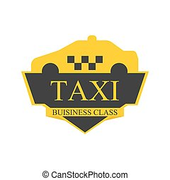 Business class taxi logotype with car on top label isolated