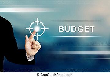 business, cliqueter, bouton, budget, main, écran tactile
