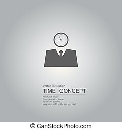 Business clock concept design. Isolated on grey background.