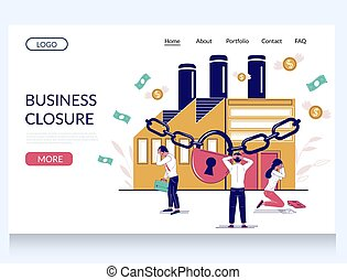 Business closure vector website template, landing page design for website and mobile site development. Stressed out employees in front of chained up factory building. Business arrest.